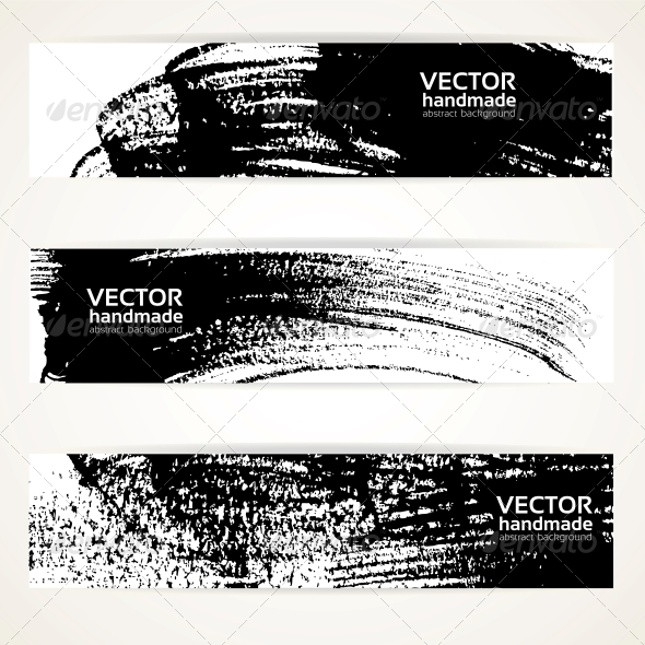 Brush Texture Handdrawing Banner Set - Backgrounds Decorative