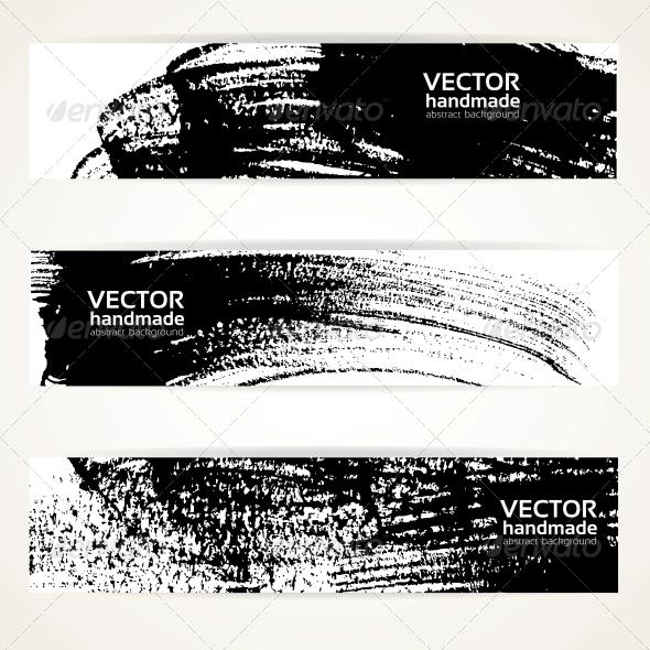Brush Texture Handdrawing Banner Set - Backgrounds Decorative