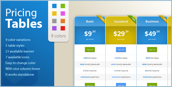 CSS Pricing Tables with Hover Effect - CodeCanyon Item for Sale
