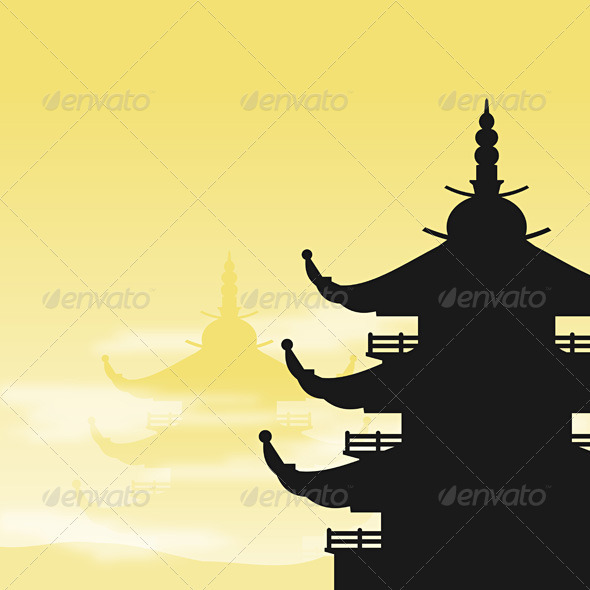 Asian Pagoda Silhouette at Dawn - Travel Conceptual