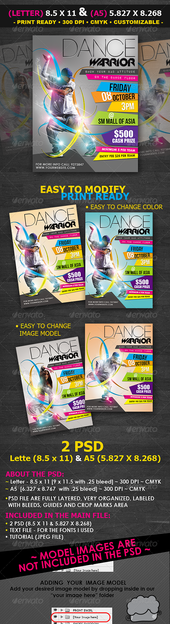 Dance Contest Flyer Template - Clubs & Parties Events