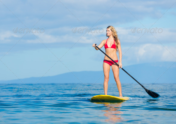 Woman on Stand Up Paddle Board - Stock Photo - Images