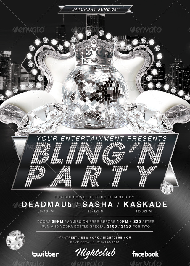 bling party flyer by viral