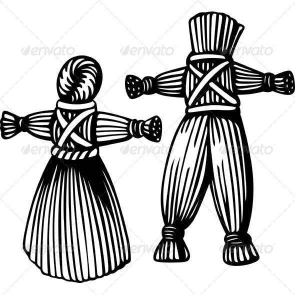 Straw Man and Woman - People Characters