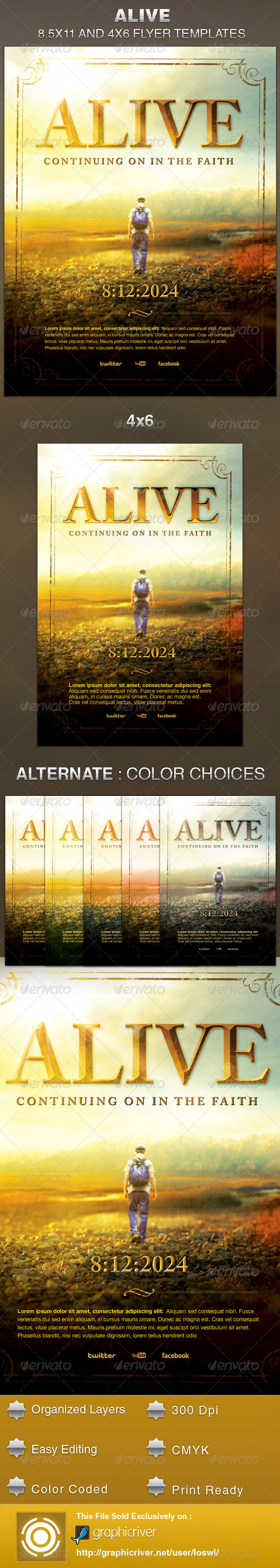 Alive Church Flyer Template - Church Flyers