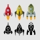 Spaceships set Color and Black - GraphicRiver Item for Sale
