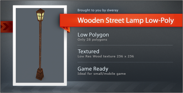 Wooden Street Lamp Low 28 Poly - 3DOcean Item for Sale