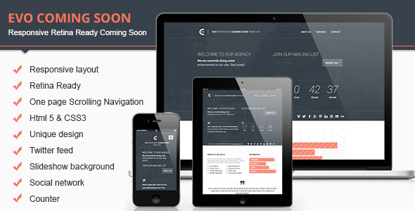 Evo Responsive Retina Ready Coming Soon Template - Under Construction Specialty Pages