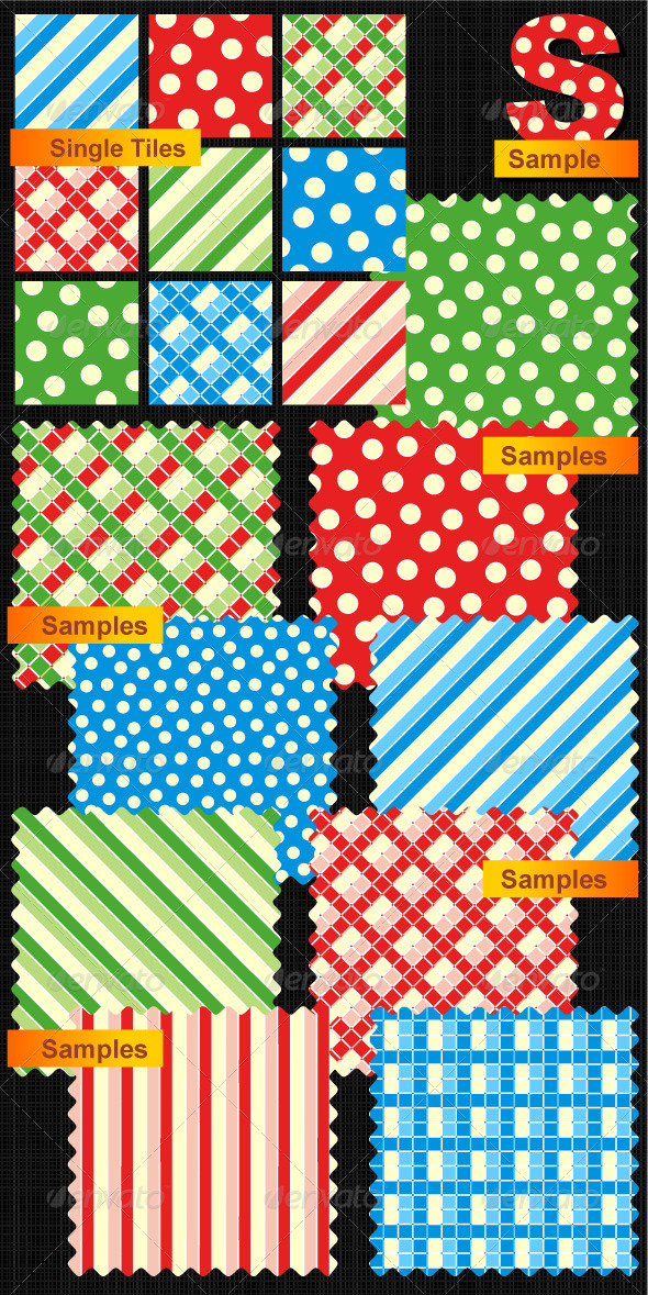 Seamless Patterns - Polka-dots, Plaids, Stripes  - Christmas Seasons/Holidays