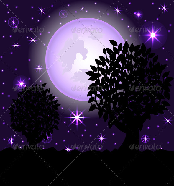 Vector Illustration of a Night Scene. - Halloween Seasons/Holidays