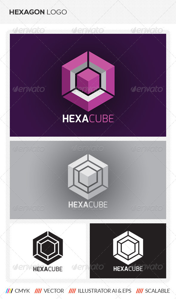 hexagon cube logo template by mengloong graphicriver