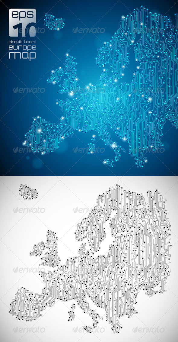 Europe Map - Circuit Board Abstract Background - Backgrounds Business