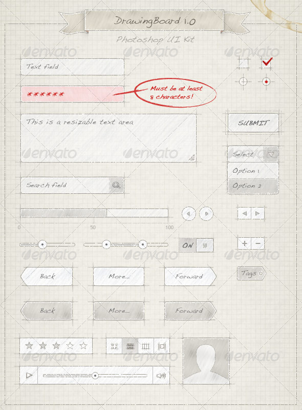 Drawing Board UI Kit - User Interfaces Web Elements