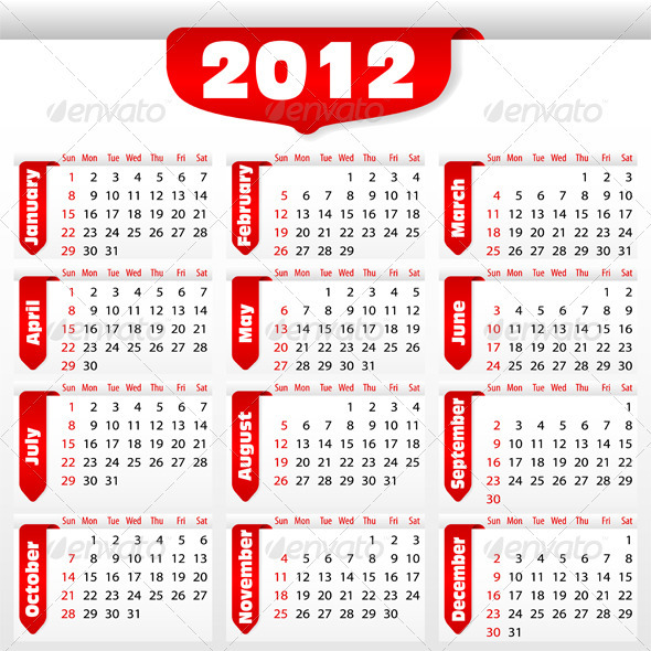 Calendar for 2012 year - New Year Seasons/Holidays