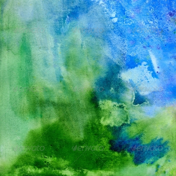 Grass and Sky. Abstract Watercolor Background by jetfoto ...