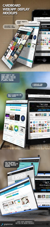 Cardboard Web/App Display Mockups - Mobile Displays