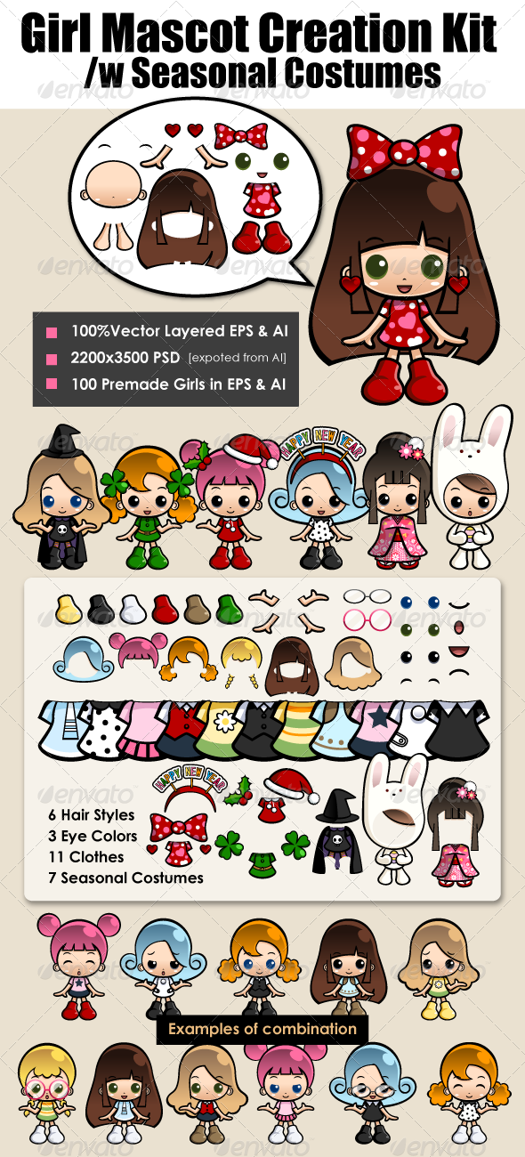 Girl Mascot Kit with Seasonal Costume - People Characters