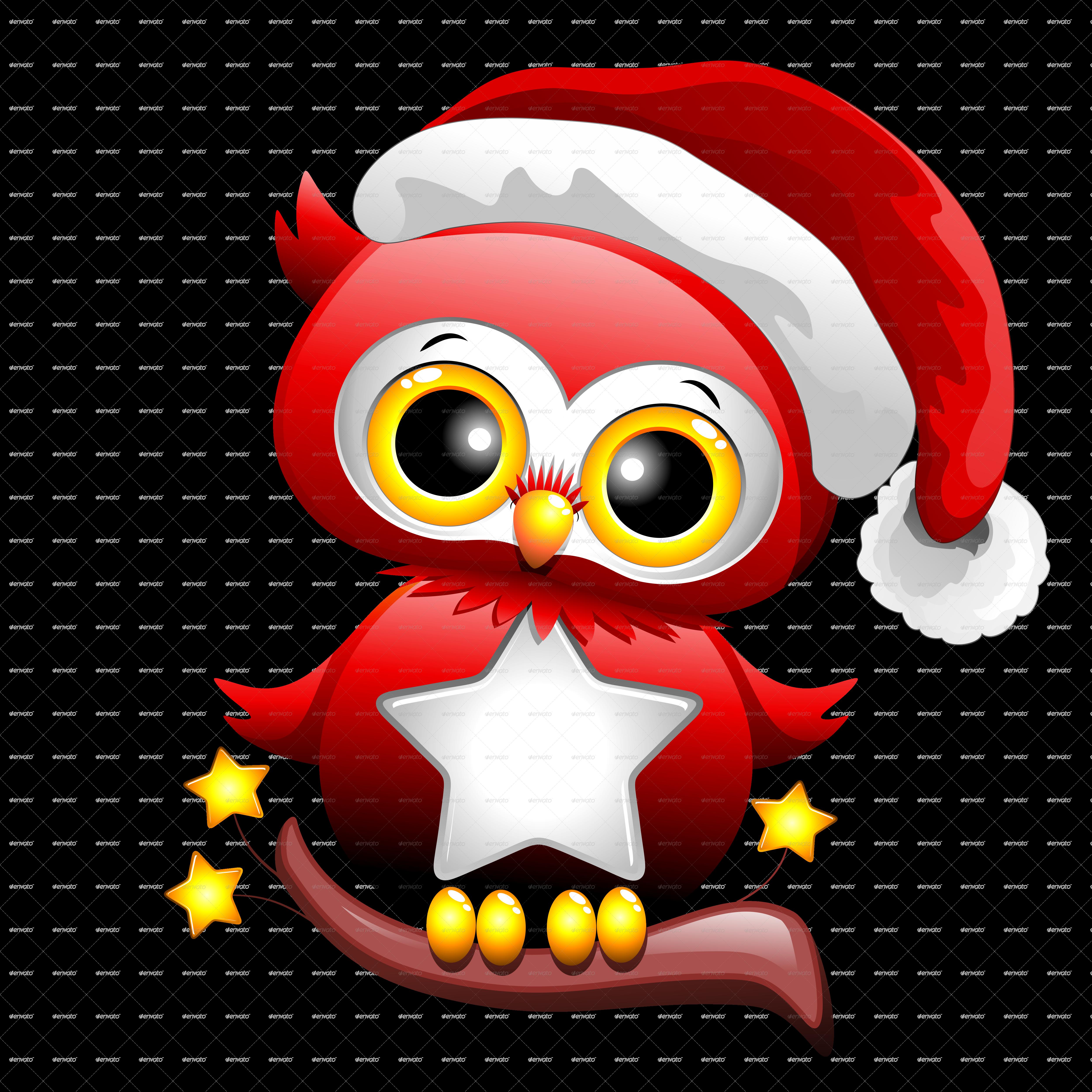 Baby Owl Christmas Santa by Bluedarkat | GraphicRiver