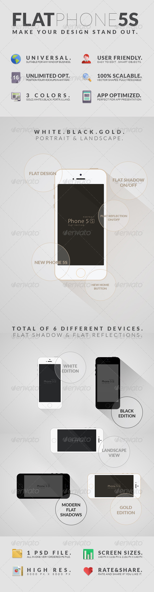 Flat Phone 5S Mockups - Mobile Displays