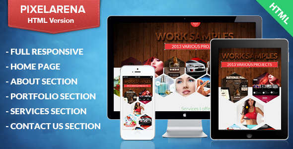 PixelArena – Responsive HTML Single Page Portfolio