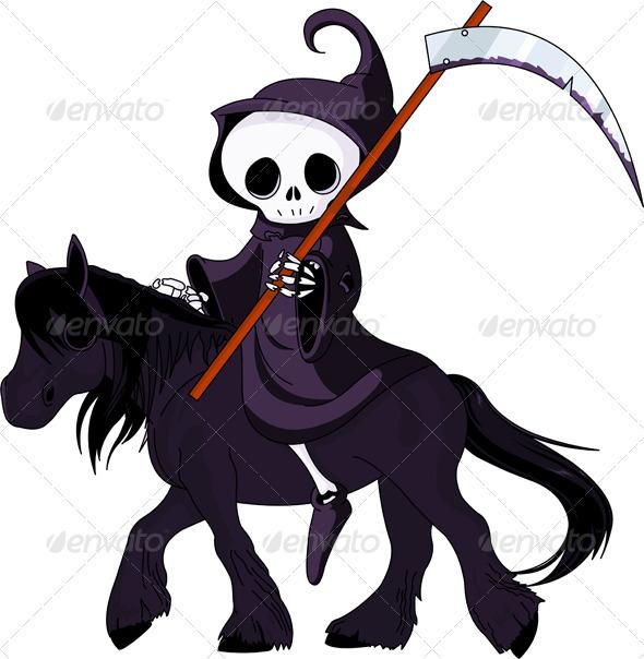 Cartoon grim reaper riding horse - Halloween Seasons/Holidays