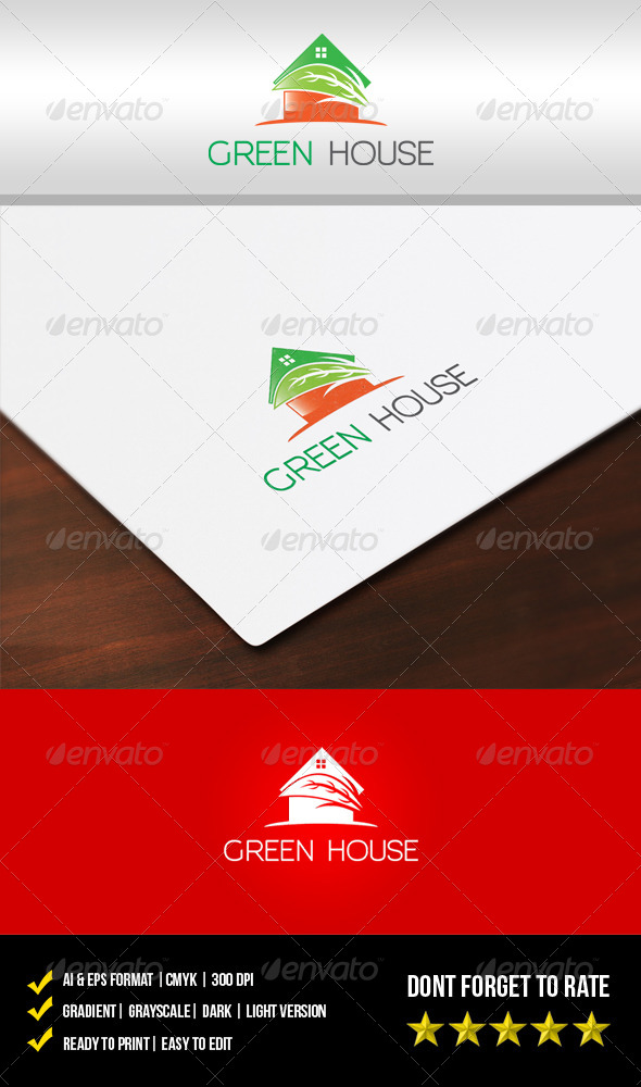 Green House Logo - Buildings Logo Templates