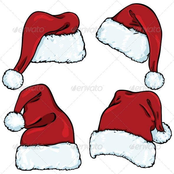 Vector set of cartoon santa claus hats by nikiteev