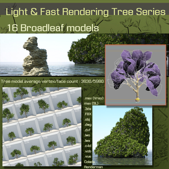 16 Broadleaf models - 3DOcean Item for Sale