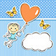 Happy Girl with Heart Balloon - GraphicRiver Item for Sale