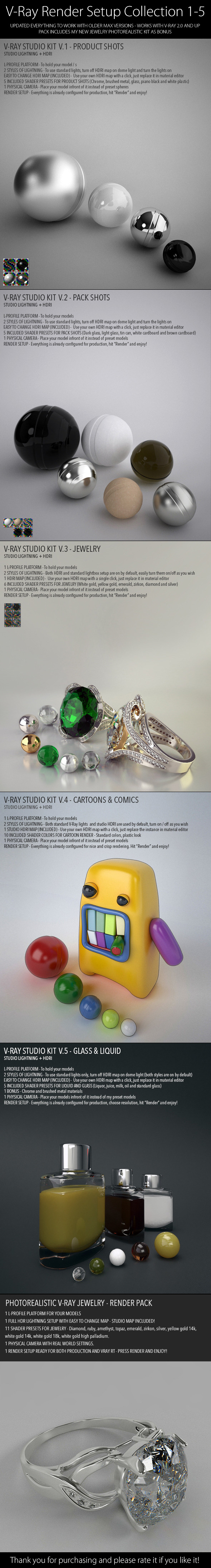 V-Ray Render Setup Collection 1-5 - 3DOcean Item for Sale