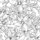 Seamless Monochrome Floral Background with Lilies - GraphicRiver Item for Sale