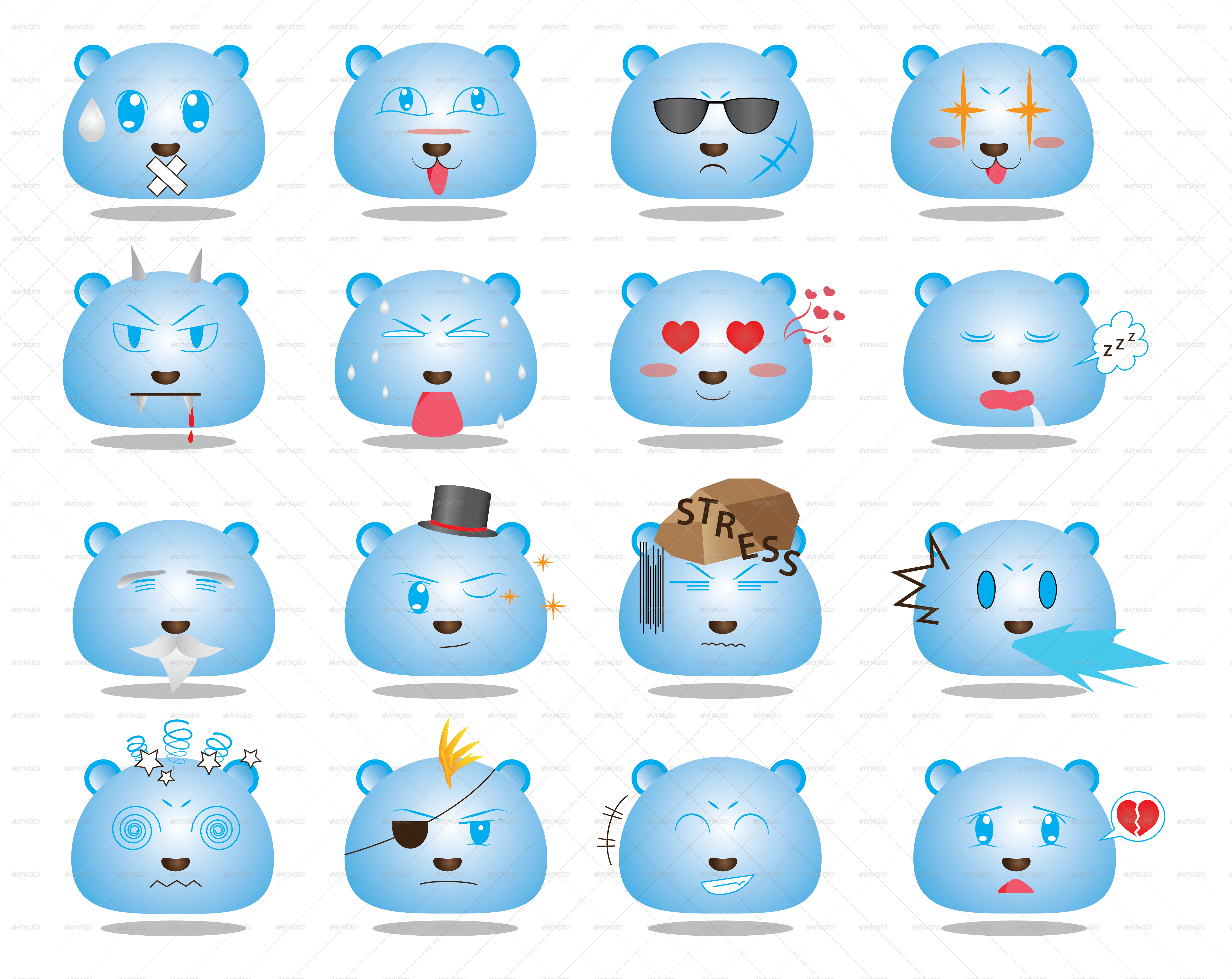 Anime Style Face Emoticon Set 2 Set2