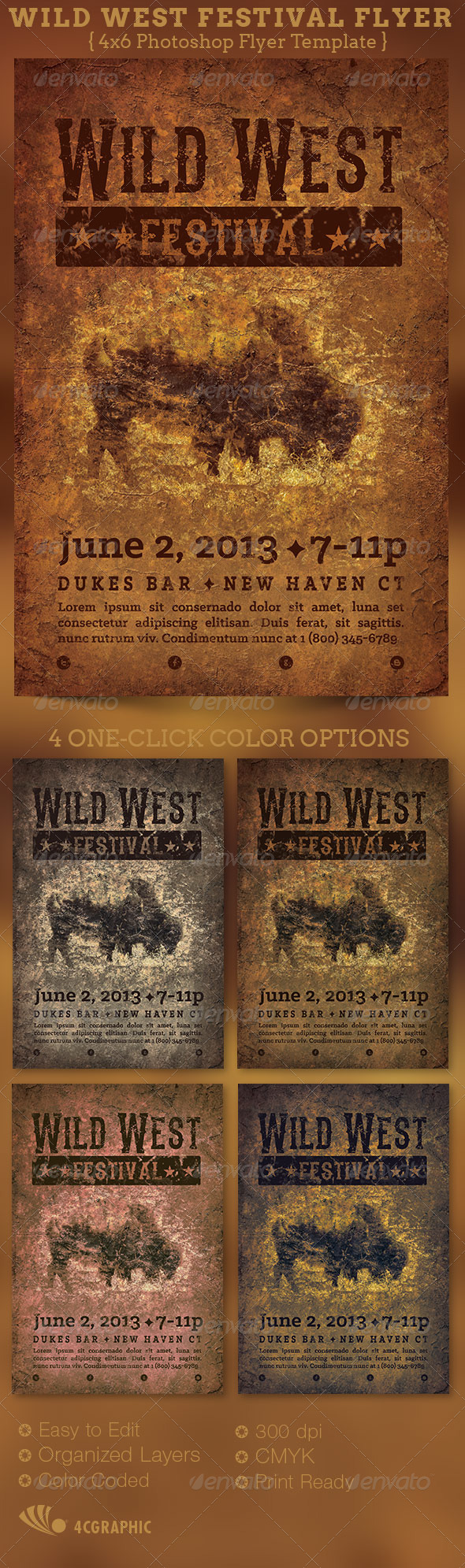 Wild West Festival Flyer Template - Events Flyers