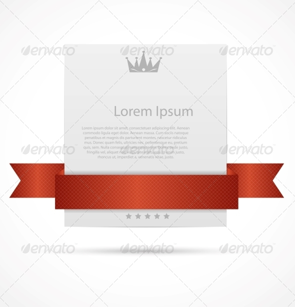 White Card with Ribbon Vector Illustration - Web Technology