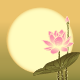 Lotus Flower on Full Moon Background - GraphicRiver Item for Sale
