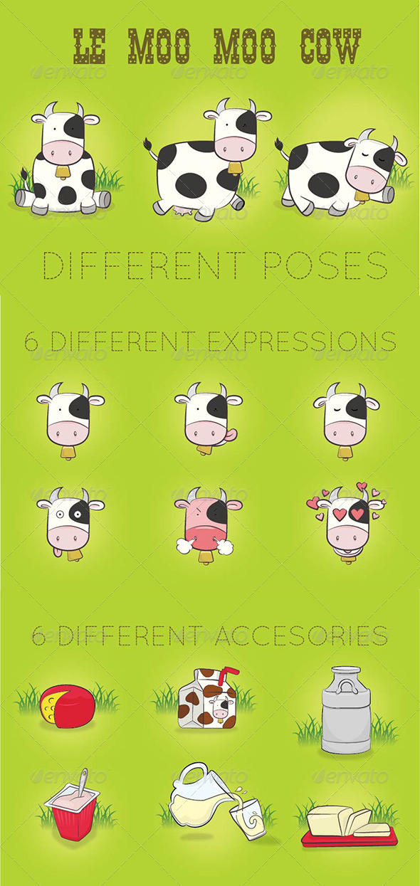 Cow n Dairy Vector Set - Animals Characters
