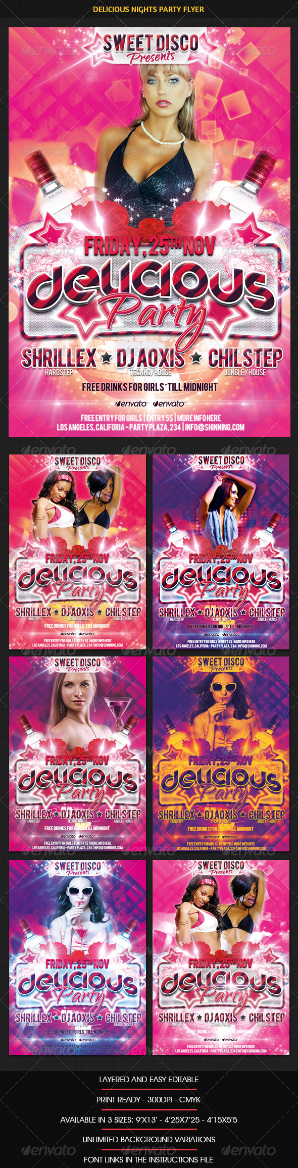 Delicious Nights Party Flyer - Print Templates