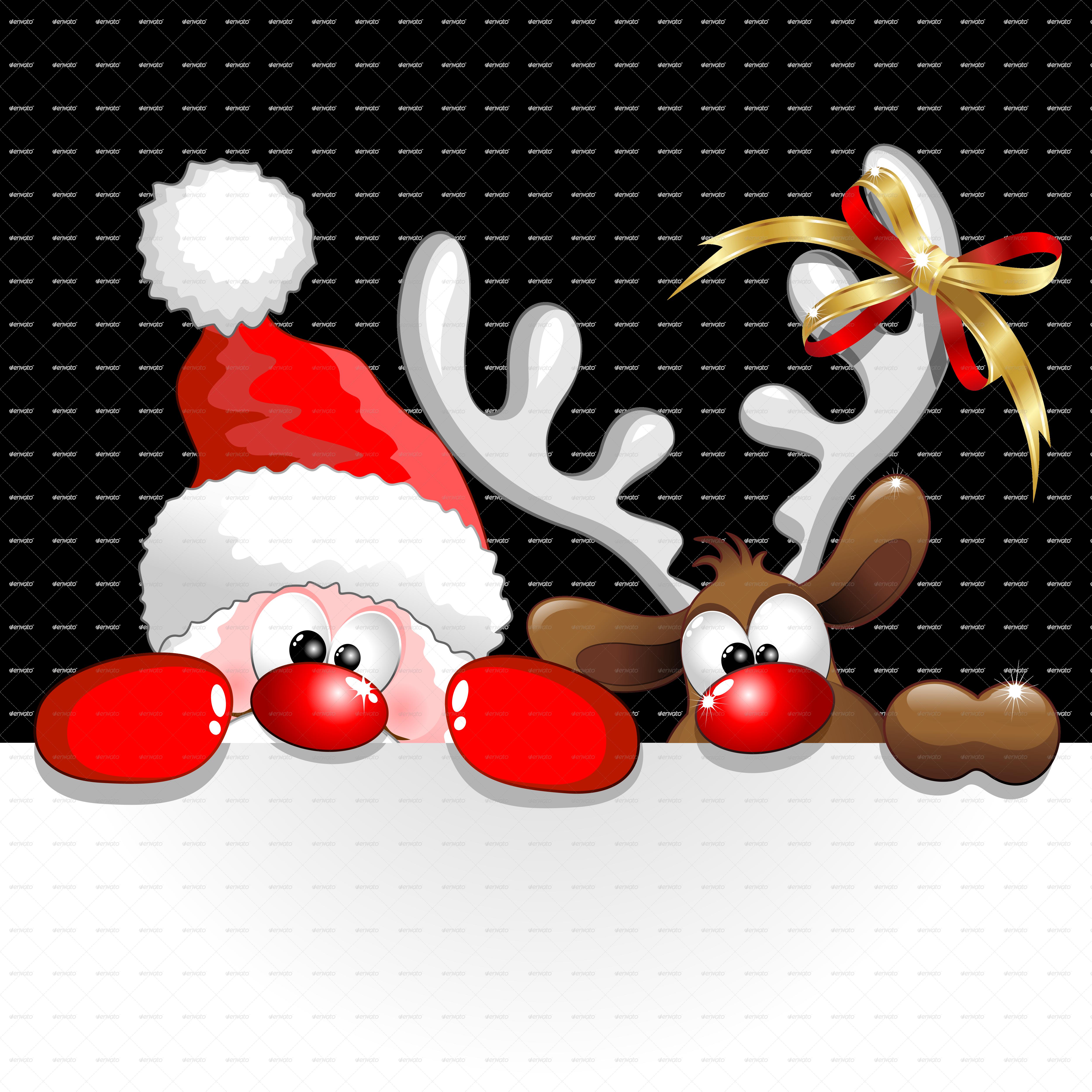 a funny christmas santa and reindeer cartoon png 5000png - Santa Reindeer