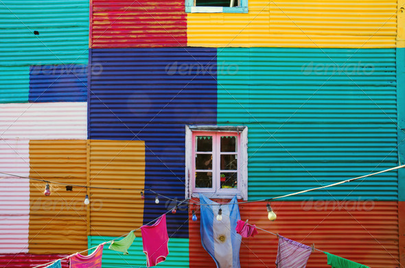 Typical wall in La Boca - Stock Photo - Images