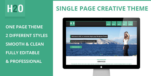 H2O - Flat Styled Single Page Theme - PSD Templates