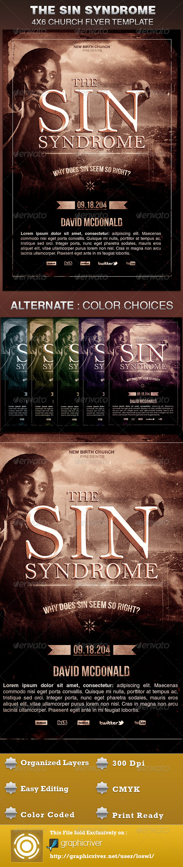 The Sin Syndrome Church Flyer Template - Church Flyers