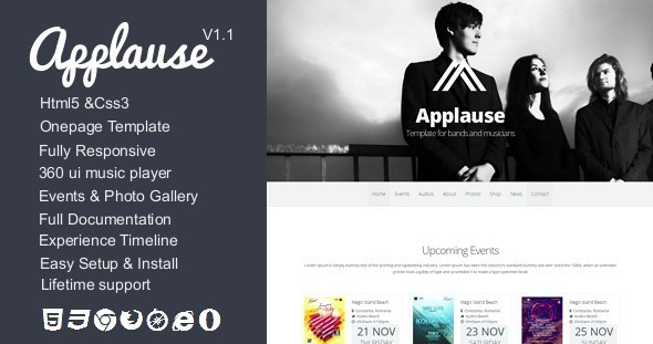 Applause – Onepage Bands & Musicians Template