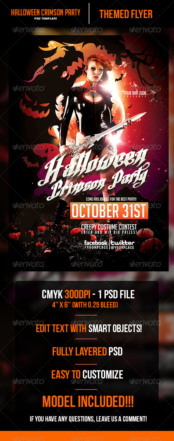 Halloween Crimson Party Flyer Template - Print Templates