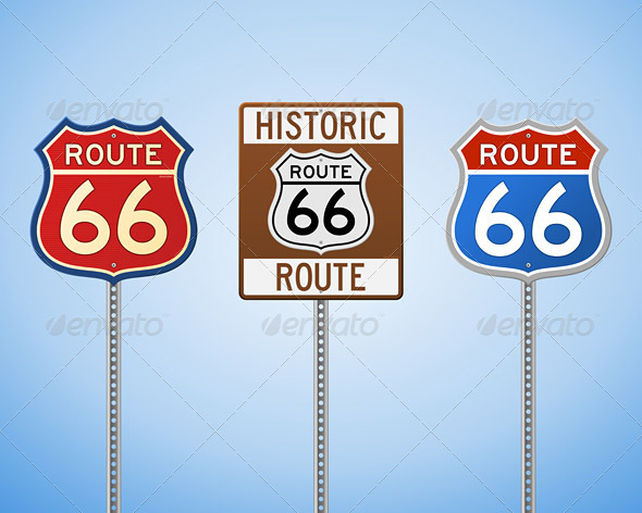 Route 66 Vintage Signs - Objects Vectors
