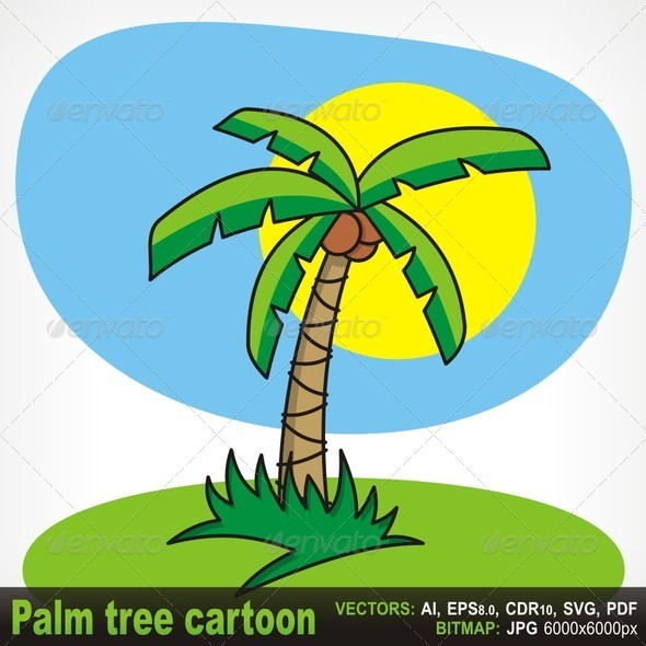Palm Tree Cartoon By Fractalgr