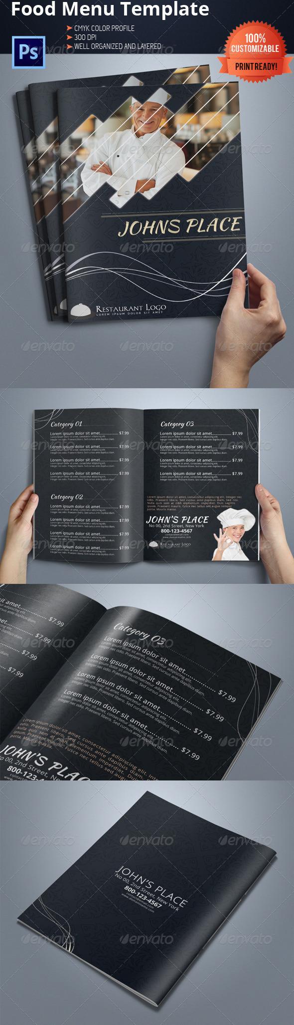 Bi-fold Restaurant Food Menu Template 04 - Food Menus Print Templates