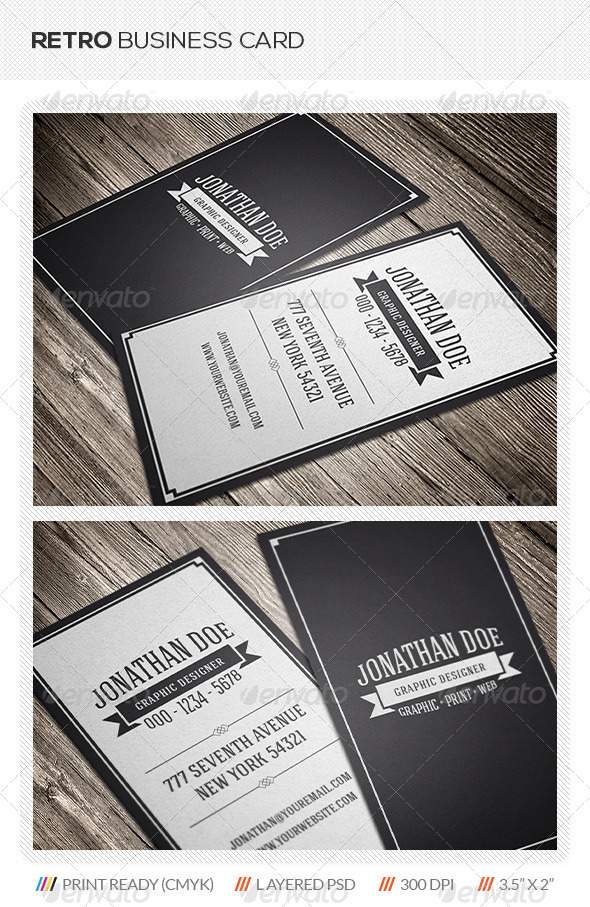 Retro business card by mengloong graphicriver retro business card retrovintage business cards reheart Image collections