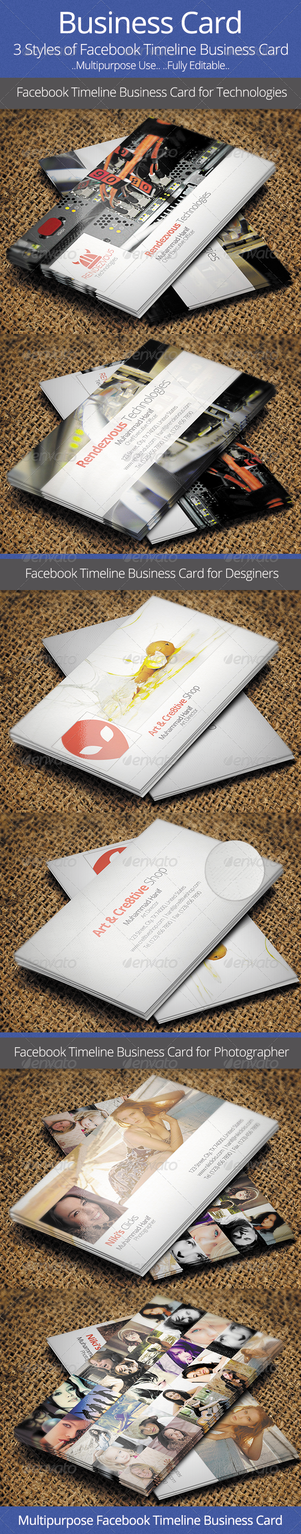 Facebook Timeline Business Card - Print Templates