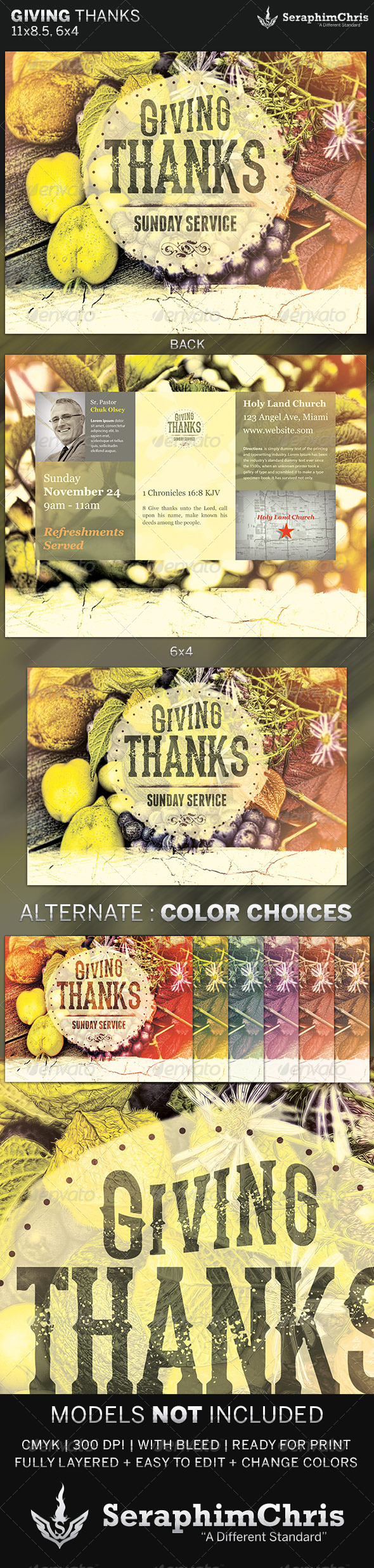 Giving Thanks Fall Church Flyer Template - Church Flyers