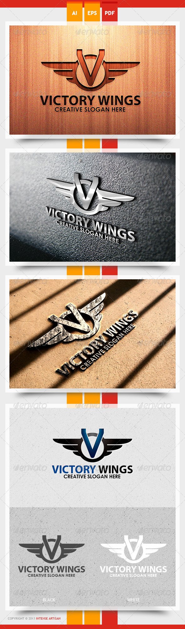 Victory Wings Logo Template - Letters Logo Templates